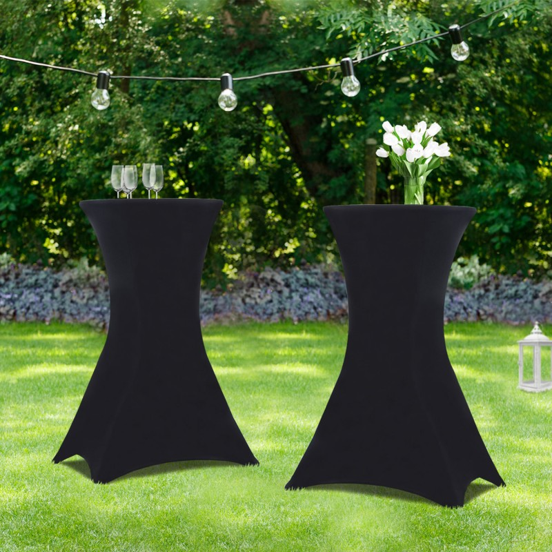 IDMarket Lot de 2 tables hautes 105 cm pliantes + 2 housses noires