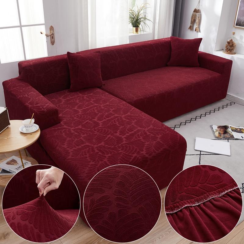AliExpress Housse extensible pour canapé d'angle, en tissu peluche Jacquard, rouge vin, pour salon, couleur