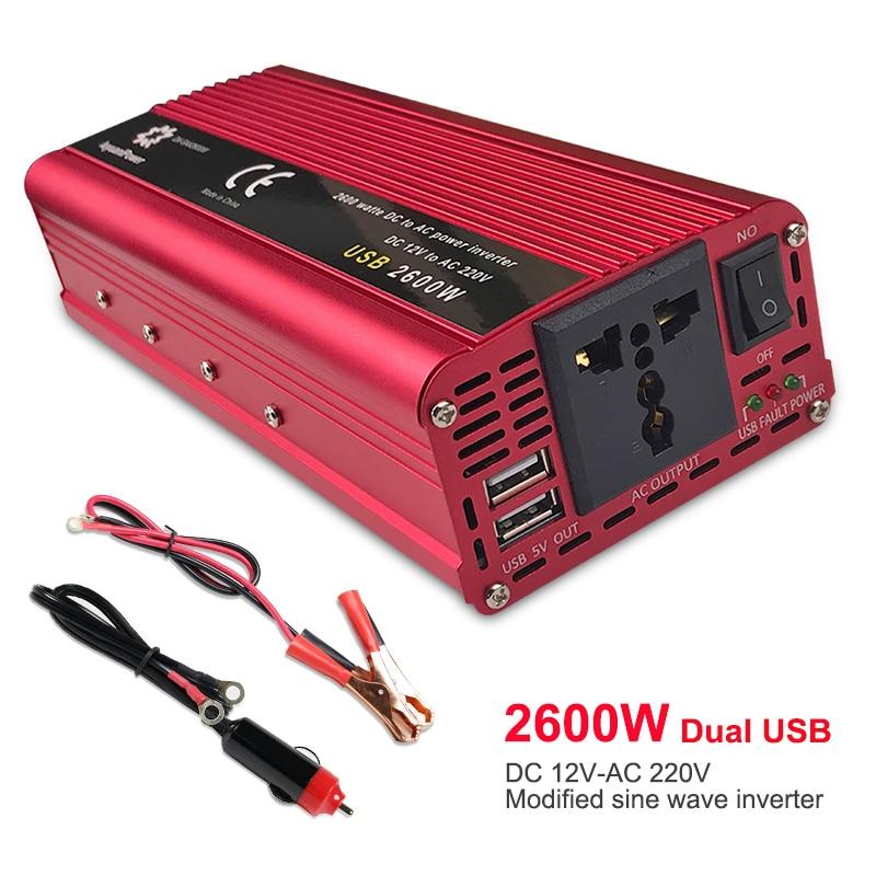 AliExpress Onduleur de puissance Portable 2600W, 12V DC à 220V AC, adaptateur de convertisseur de chargeur pour