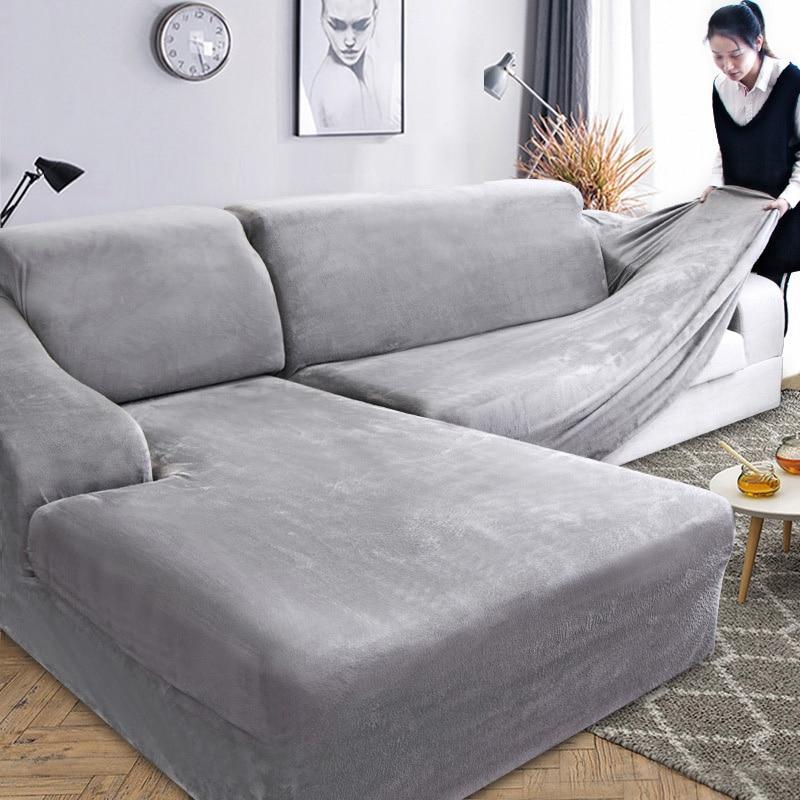 AliExpress Housse extensible pour canapé d'angle, en tissu peluche, pour salon, 2 pièces