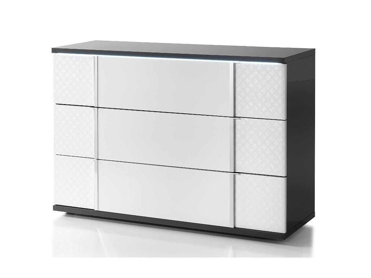 Vente-unique Commode CONSCIENCE - 3 tiroirs - Avec LEDs - Laqué blanc et gris