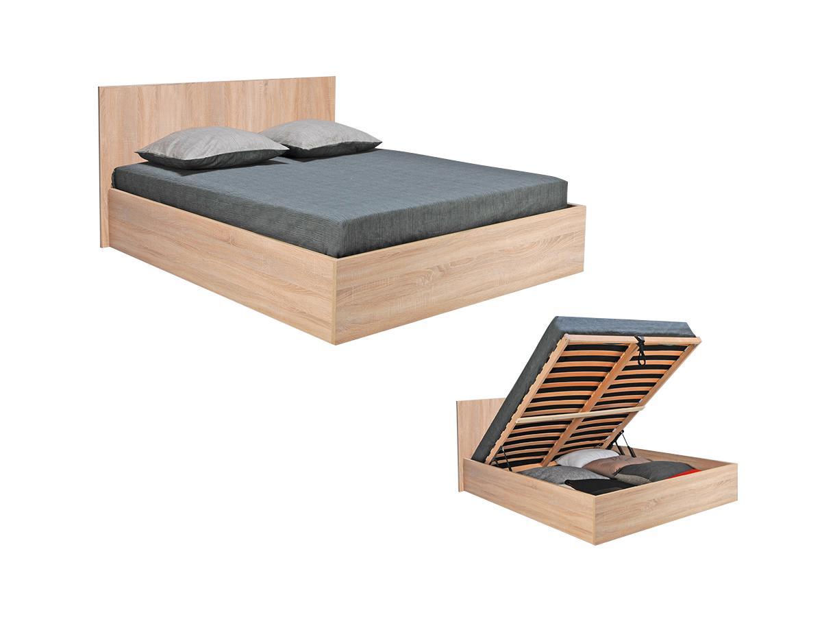 Vente-unique Lit coffre ELPHEGE - 160x200cm - Coloris : Chêne