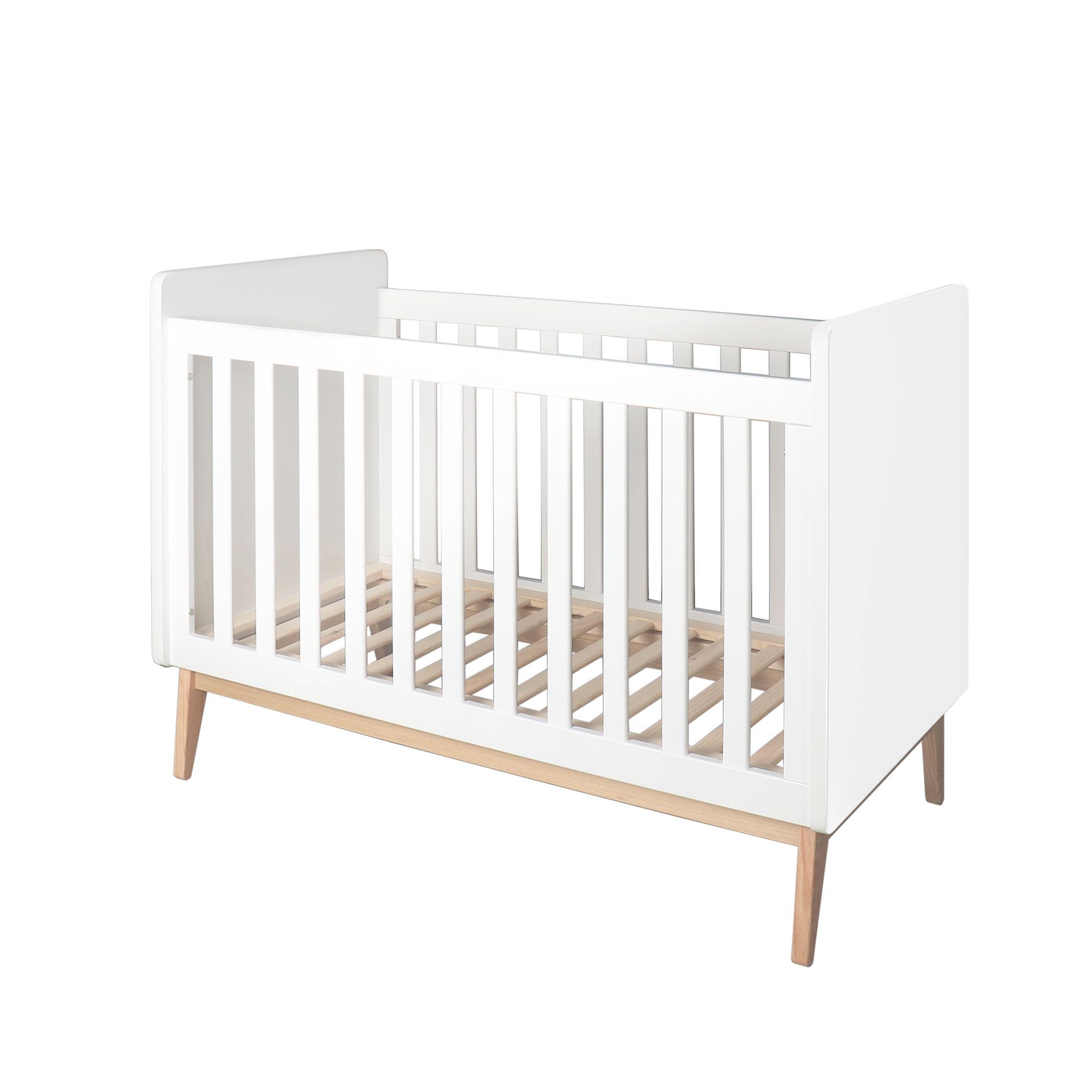 Homcom Lit bébé  barreaux 60 x 120 cm sommier lattes hauteur réglable blanc