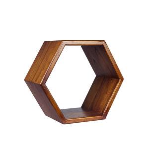 MOYCOR Etagère hexagonale en bois marron
