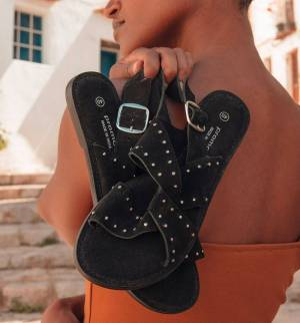 Sandales en cuir clouté Noir 39