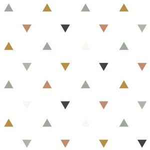 Papier peint motif triangles bleus gris beige (10 m)