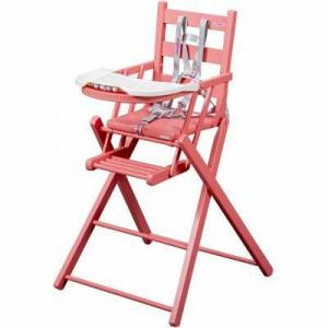 Chaise haute pliante Sarah laquée rose