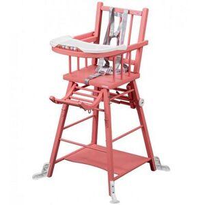 Chaise haute transformable Marcel en bois massif laqué rose