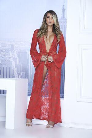Mapalé Long lace robe red 7116 - L (40)