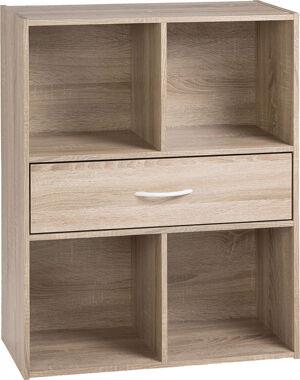Destock Meubles Etagère de rangement ton chêne 1 tiroir 4 niches