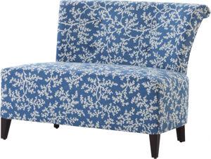 Destock Meubles Canapé bas tapissé tissu bleu motif végétal