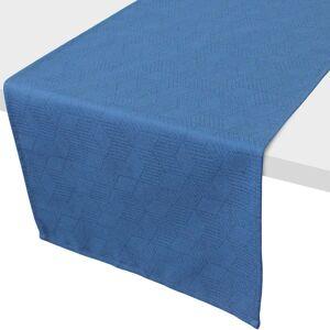 Linnea Chemin de table 45x150 cm Jacquard 100% coton CUBE bleu Cobalt