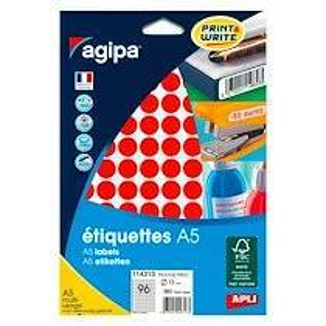 Agipa Pastille adhésive 15 mm Agipa 11431 rouge - pochette de 960