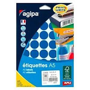 Agipa Pastille adhésive 24 mm Agipa 11432 bleue - pochette de 400