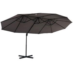 Outsunny Parasol déporté grande taille inclinable gris