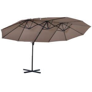 Outsunny Parasol déporté grande taille inclinable marron