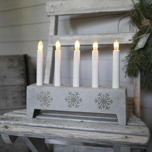 Xmas Living Glass Lampe à poser Xmas Living Glass SNOWFLAKE-Chandelier Polypierre Gris Flocon 5 bougies à ampoules 22cm Gris