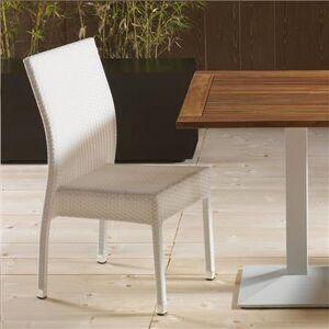 NOUVOMEUBLE Chaise de jardin en résine tressée blanche MIMOSA (lot de 4)