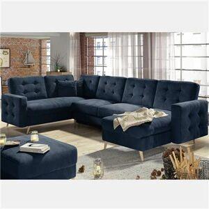 NOUVOMEUBLE Canapé d'angle U en tissu bleu foncé ATSUKO