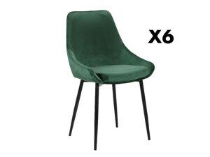Lot de 6 chaises MASURIE - Velours - Vert