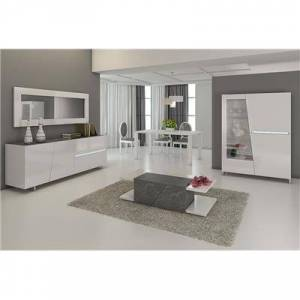 M-114 Salle à manger complète blanc laqué décor ardoise design JULIA-L 120 x P 45 x H 155 cm- Blanc Blanc
