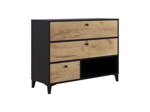 BOBOCHIC Commode 3 tiroirs MIAMI chêne et rustique et noir