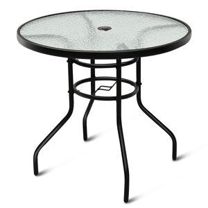 Costway Table de Jardin Ronde en Verre Trempé Plateau ø 80 CM avec Trou de Parasol Hauteur 70 CM Noir