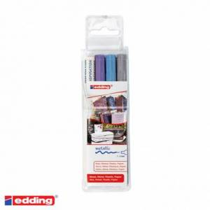 Edding Pack de 3 marqueurs peinture: argent, violet métal et bleu métal
