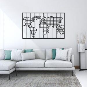 Homemania Décoration Murale World Map Series - Art Mural - Monde - pour Séjour, Chambre - Noir en Métal, 90 x 2 x 55 cm