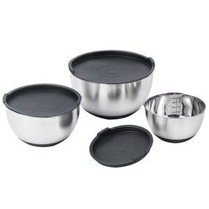 Kitchen Move Lot 3 Saladiers avec couvercle ALVA argent inox 1.25L + 2.5L + 4.5L