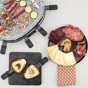 H.koenig Appareil à raclette & pierre en granit 900 W - 8 pers. - design convivial + 8 poêlons