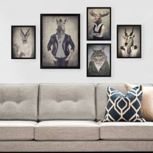 Wallity Tableau décoratif - 5 pièces - 24 x 29 cm & 34 x 44 cm - portrait de famille