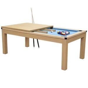 Rendez Vous Deco Table de Billard Eddie convertible hêtre tapis bleu