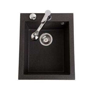 Luisina Évier granit noir moucheté Luisina QUADRILLE 1 bac 410x500
