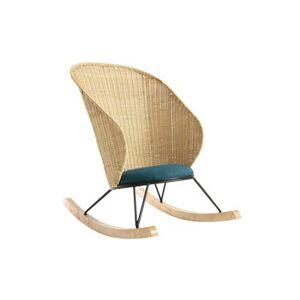 Miliboo Rocking chair en rotin et tissu bleu pétrole ROBIN