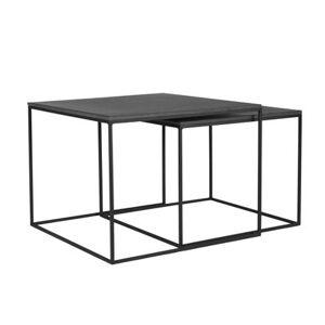 Rendez Vous Deco Table basse gigogne carrée Nevados lavastone (lot de 2)