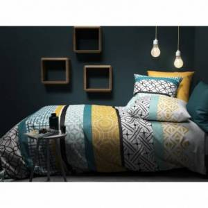My Home Parure de couette Citedor - 3 pièces - 240 x 260 cm - 100 % coton 57 fils/cm² - bleu