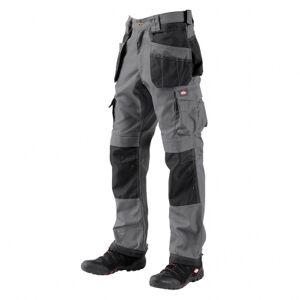 Lee Cooper Workwear Pantalon de travail multipoche LCPNT210 - renforts Oxford 600 - 320 g/m² - entrej.82 cm - gris/noir