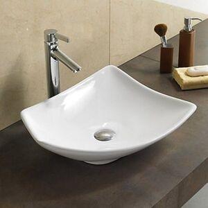 Rue Du Bain Vasque à Poser Asymétrique - Céramique Blanc Brillant - 49x38 cm - Feuille