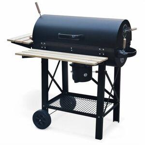 Alice's Garden Barbecue américain charbon de bois - Serge noir - Smoker américain avec aérateurs. récupérateur de cendres. fumoir