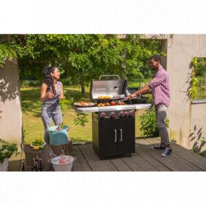Landmann Barbecue à gaz REXON 4 brûleurs + 1 latéral - grille acier émaillé - 69 x 40 cm - noir & inox