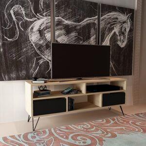 Homemania Meuble TV Mack Moderne - avec Portes, Étagères - pour Salon - Chêne, Noir en Bois, 120 x 30 x 58 cm