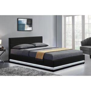 Concept Usine Lit New York - Structure de lit en PU Noir avec rangements et LED intégrées - 160x200 cm