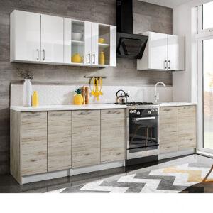Lumbardo Kitchen Cuisine complète 2,80 m - 6 meubles - blanc mat, chêne bordeaux & blanc brillant