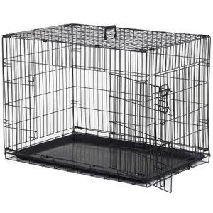 Pawhut Cage caisse de transport pliante pour chien en métal noir 91 x 61 x 67 cm - Pawhut