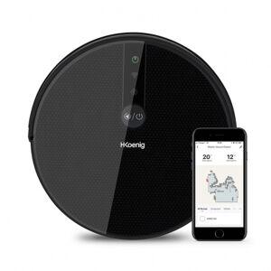 H.koenig Aspirateur robot WaterMop Gyro+ - Wifi - 120min - écran LCD - détection du vide + des obstacles - accessoires - noir