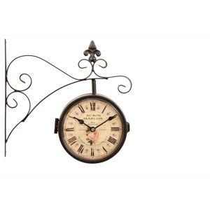Horloge De Gare Ancienne Double Face Au Bon Marché 16cm - Fer Forgé - Blanc