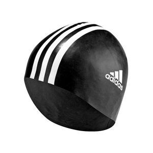 Adidas Bonnet de bain noir mixte Adidas 3 stripes  - Blanc