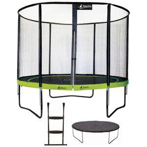 Kangui - Trampoline de jardin rond 305 cm + filet de sécurité + échelle + bâche de protection   PUNCHI Vert 300 - Vert
