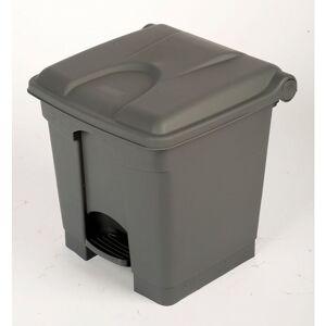 CERTEO Collecteur de déchets à pédale, en plastique - h x l x p 435 x 410 x 400 mm, 30 l - gris - Coloris poubelle: Gris Coloris du couvercle: Gris